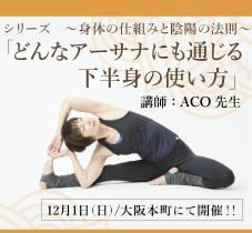 2019年12月1日(日)ACO先生による、シリーズ ~身体の仕組みと陰陽の法則~ 「どんなアーサナにも通じる上半身の使い方」開催![大阪・本町]